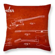 Vintage Fender Guitar Patent Drawing From 1951 Throw Pillow by Aged Pixel
