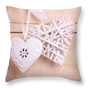 Vintage hearts with texture Throw Pillow by Jane Rix