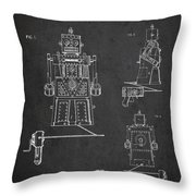 Vintage Toy Robot Patent Drawing From 1955 Throw Pillow by Aged Pixel