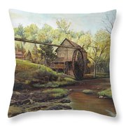 Watermill At Daybreak  Throw Pillow by Mary Ellen Anderson