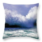 Wild Waves In Cornwall Throw Pillow by Terri  Waters