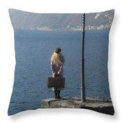 Woman On Jetty Throw Pillow by Joana Kruse