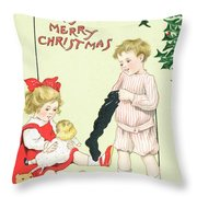 Christmas Card Throw Pillow by English School