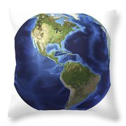 3d Rendering Of Planet Earth, Centered Throw Pillow by Leonello Calvetti