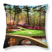 12th Hole At Augusta Throw Pillow by Tim Gilliland
