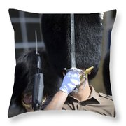 1st Battalion Welsh Guards On The Drill Throw Pillow by Andrew Chittock