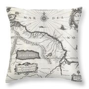 1635 Blaeu Map Guiana Venezuela and El Dorado Throw Pillow by Paul Fearn
