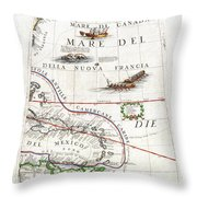 1688 Coronelli Globe Gore Map Of Ne North America The West Indies And Ne South America Geographicus Throw Pillow by MotionAge Designs