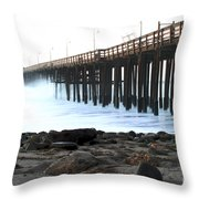 Ocean Wave Storm Pier Throw Pillow by Henrik Lehnerer
