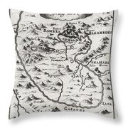 1719 Mallet Map of the Source of the Nile Ethiopia Throw Pillow by Paul Fearn