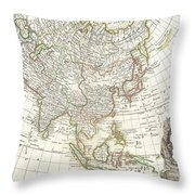 1770 Janvier Map Of Asia Throw Pillow by Paul Fearn