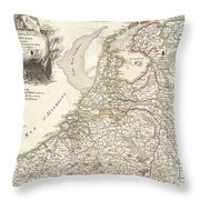 1775 Janvier Map of Holland and Belgium Throw Pillow by Paul Fearn