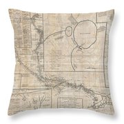 1784 Tiefenthaler Map Of The Ganges And Ghaghara Rivers India Throw Pillow by Paul Fearn
