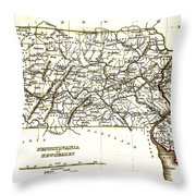 1835 Pennsylvania and New Jersey Map Throw Pillow by Bradford