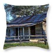 1860 Log Cabins Throw Pillow by Linda Phelps