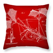 1879 Quinby Aerial Ship Patent Minimal - Red Throw Pillow by Nikki Marie Smith
