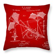 1879 Quinby Aerial Ship Patent - Red Throw Pillow by Nikki Marie Smith