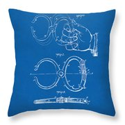 1891 Police Nippers Handcuffs Patent Artwork - Blueprint Throw Pillow by Nikki Marie Smith