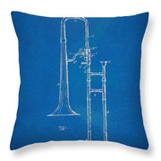 1902 Slide Trombone Patent Blueprint Throw Pillow by Nikki Marie Smith