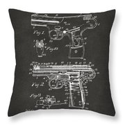 1911 Automatic Firearm Patent Artwork - Gray Throw Pillow by Nikki Marie Smith
