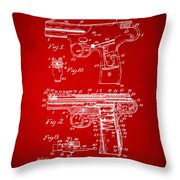 1911 Automatic Firearm Patent Artwork - Red Throw Pillow by Nikki Marie Smith