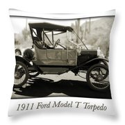 1911 Ford Model T Torpedo Throw Pillow by Jill Reger