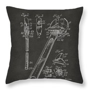 1915 Wrench Patent Artwork - Gray Throw Pillow by Nikki Marie Smith