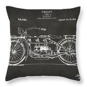 1919 Motorcycle Patent Artwork - Gray Throw Pillow by Nikki Marie Smith