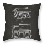 1920 Lincoln Logs Patent Artwork - Gray Throw Pillow by Nikki Marie Smith
