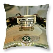1925 Bentley 3-liter 100mph Supersports Brooklands Two-seater Radiator Cap Throw Pillow by Jill Reger