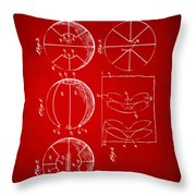 1929 Basketball Patent Artwork - Red Throw Pillow by Nikki Marie Smith