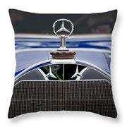 1929 Mercedes Benz S Erdmann And Rossi Cabiolet Hood Ornament Throw Pillow by Jill Reger