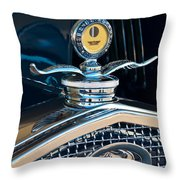 1931 Model A Ford Deluxe Roadster Hood Ornament Throw Pillow by Jill Reger