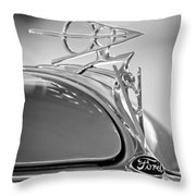 1936 Ford Deluxe Roadster Hood Ornament 2 Throw Pillow by Jill Reger