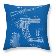 1937 Police Remington Model 8 Magazine Patent Artwork - Blueprin Throw Pillow by Nikki Marie Smith