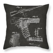 1937 Police Remington Model 8 Magazine Patent Artwork - Gray Throw Pillow by Nikki Marie Smith