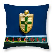 1942 Lincoln Continental Cabriolet Emblem Throw Pillow by Jill Reger