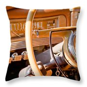 1942 Packard Darrin Convertible Victoria Steering Wheel Throw Pillow by Jill Reger