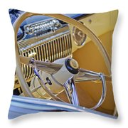 1947 Cadillac 62 Steering Wheel Throw Pillow by Jill Reger