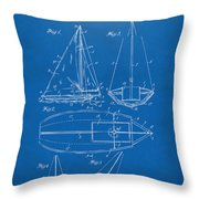 1948 Sailboat Patent Artwork - Blueprint Throw Pillow by Nikki Marie Smith