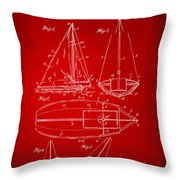 1948 Sailboat Patent Artwork - Red Throw Pillow by Nikki Marie Smith
