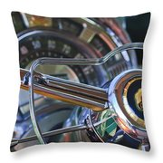 1950 Chrysler New Yorker Coupe Steering Wheel Emblem Throw Pillow by Jill Reger