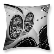 1950's Chevrolet Corvette C1 In Black And White Throw Pillow by Paul Velgos
