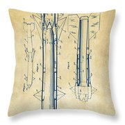 1953 Aerial Missile Patent Vintage Throw Pillow by Nikki Marie Smith