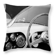 1953 Ferrari 340 Mm Lemans Spyder Steering Wheel Emblem Throw Pillow by Jill Reger