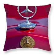 1953 Mercedes Benz Hood Ornament Throw Pillow by Jill Reger