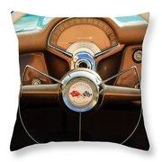 1954 Chevrolet Corvette Convertible  Steering Wheel Throw Pillow by Jill Reger