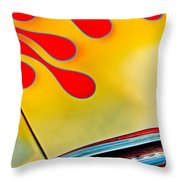 1954 Studebaker Champion Coupe Hot Rod Red With Flames - Grille Emblem Throw Pillow by Jill Reger