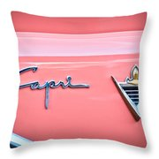 1955 Lincoln Capri Emblem 2 Throw Pillow by Jill Reger
