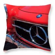 1955 Mercedes-benz 300sl Gullwing Grille Emblems Throw Pillow by Jill Reger